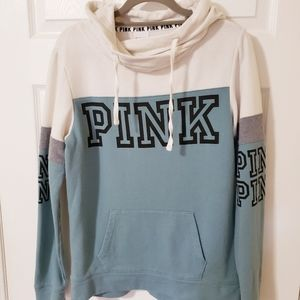 PINK Victoria's Secret White/Teal Oversized Hoodie